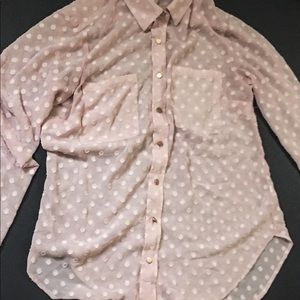 Pink Sheer Long Sleeve Button Up with Pocket